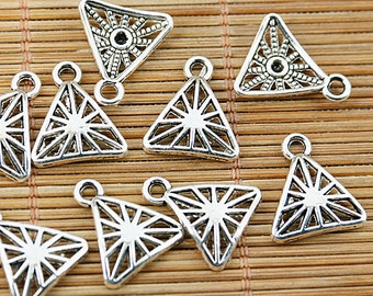 64pcs tibetan silver tone triangle shaped charms EF1536