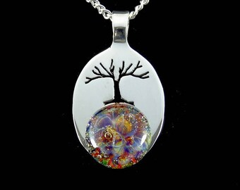 Cremation Pendant, Memorial Necklace, Tree of Life, Pet Ashes, Sterling Silver, Multi-Color Glass, Boro Lampwork, Hand Blown Glass Necklace