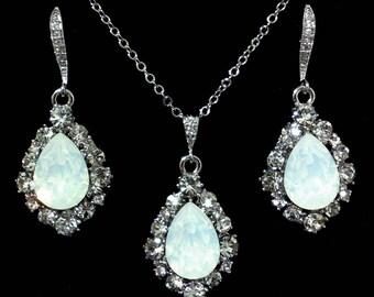 White Opal Bridal Jewelry Set, Dangle Bridal Earrings, Teardrop Bridal Necklace, Drop Earrings, Swarovski Crystal Wedding Jewelry, BIJOUX