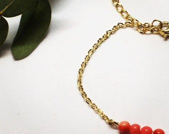 Gold plated coral bracelet