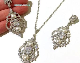 Pearl Wedding Jewelry, Chandelier Earrings, Cz Bridal Earrings, Bridal Necklace, Vintage Bridal Jewelry, Victorian Wedding Necklace, ARYA