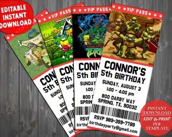 Ninja Turtles Invitations, Teenage Mutant Ninja Turtles Invitations, TMNT Invitations, TMNT Birthday, Ninja Turtles Birthday Invitation