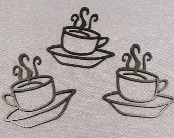 Set of 3 Laser Cut Wood COFFEE CUPS Wall Art Decor Very Cute