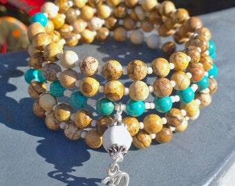 108 Mala Beads | Turquoise Howlite & Picture Jasper Wrist Mala | Mala Bracelet, Meditation Beads, OM Mala, Prayer Beads 108 Mala Buddha Mala