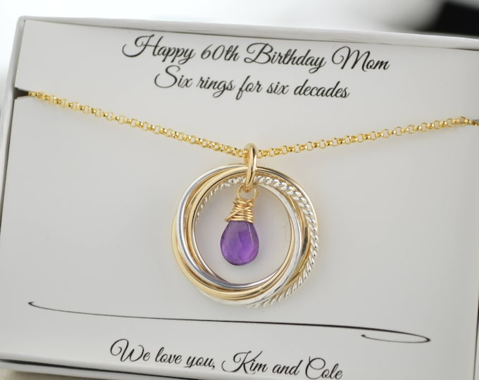 60th Birthday gift for mom, 6 Rings necklace, 6 Mixed metals necklace, 6th Anniversary gift, February birthstone necklace, Amethyst