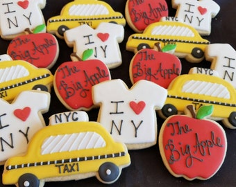 36 New York City Cookies /Taxi, Empire State Building, I Heart New York Shirt, Big Apple