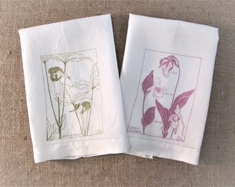 Vintage Guest Towels Floral Nature Prints by Peg Doore Hand Printed in Maine Signed Pair Mid Century Linen Vintage Linens