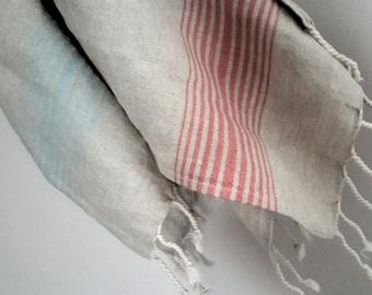 Linen Rustic towel - Natural Kitchen towel - Stripped Towel - Natural Flax towel - Country House towel-24×37 inches