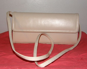 Cream leather purse by Frenchy of California made in USA