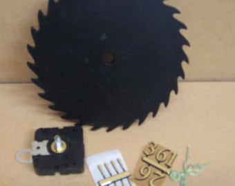 """7"""" plastic saw blade, ready to paint and the clock face and motor for those who love to paint and like clocks."""