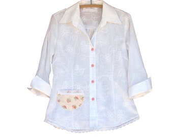 Shabby Chic Blouse Boho with lace trim, vintage buttons and decorative back