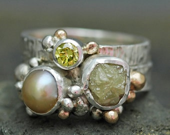 Freshwater Pearl, Rough Diamond, and Yellow Diamond Sterling Silver and Yellow Gold Ring Stack- Custom Made
