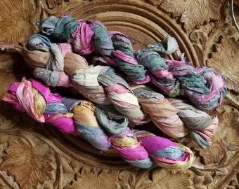 Sari ribbon, 20+ yards, recycled silk sari ribbon, silk ribbon knitting journaling crochet mixed media trim altered art jewelry making