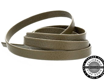 """Genuine Leather Strap, Folded Dark Olive, 6mm (1/4"""" inch) 3 yards (108"""" inches)  (1711)"""