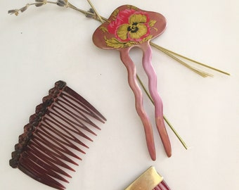 Vintage Hair Comb Lot/1970s Pansy Decorative Hair comb/1950s TILCO hair comb with Brass/1980s Goody Hair Comb