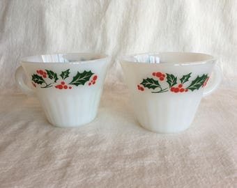 Vintage Termocrisa Holly Milk Glass Cups Mexican Holiday Cups