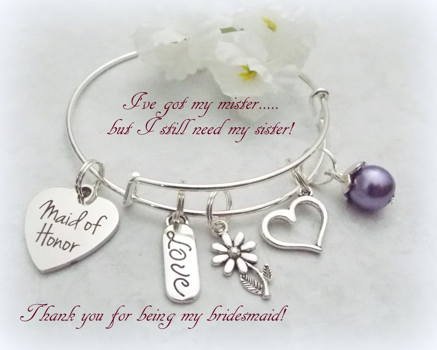 Bride Gifts Maid Of Honor Gift Maid Of Honor Bracelet Gift