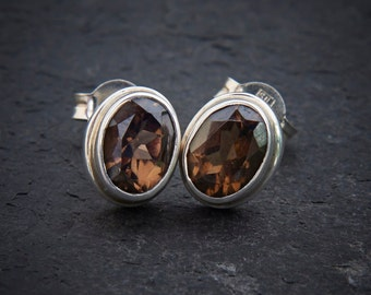 Smokey Quartz Earrings, Silver Stud Earrings, Gemstone Earrings, Sterling Silver, 925