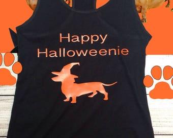 Happy Halloweenie dachshund tank top, black and orange halloween shirt, women's clothing, holiday tank top