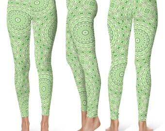 Green Print Leggings for Women, Patterned Leggings Soft Yoga Pants With Designs, Mandala Leggings Tights