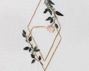 Floral hand embroidery design, PDF pattern / Serenity Figure 4 / by StitchFloral / embroidery tutorial, digital download