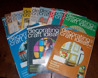 Vintage Decorating & Craft Ideas Made Easy...13 Issues...1973-1975...Mid Century Crafts and Ideas..Craft Magazines..Back Issues..