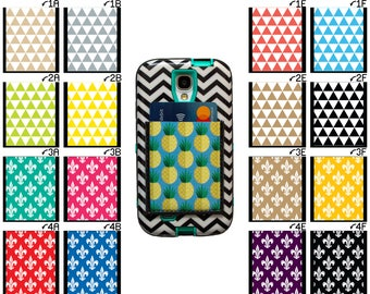 Phone Pocket / Sticky Wallet ID Case Business Card Holder - Triangles Fleur De Lis Adhesive Phone Wallet samsung android