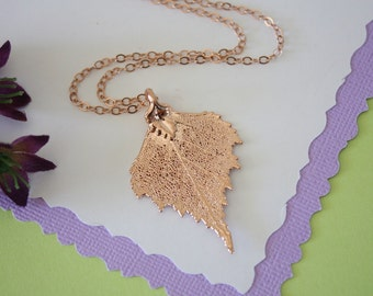 Rose Gold Birch Leaf Necklace, Real Leaf Necklace, Birch Leaf, Birch Leaf, LC41