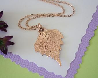 Rose Gold Birch Leaf Necklace, Real Leaf Necklace, Birch Leaf, Birch Leaf, LC41