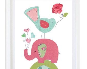 Nursery Art, Nursery decor, elephant art print, kids room art, wall art, Nursery print, Pink elephant nursery print, - So Sweet Elephant