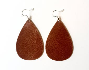 Saddle Leather Earrings / Leather Jewelry / Gifts for her / Leather drop earrings / Statement Earrings