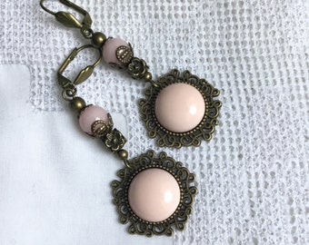 pink brass bronze earrings romantic pale pink earrings
