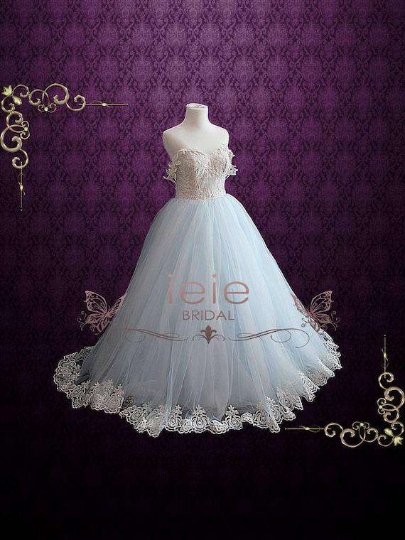 Light Blue Ball Gown Wedding Dresses