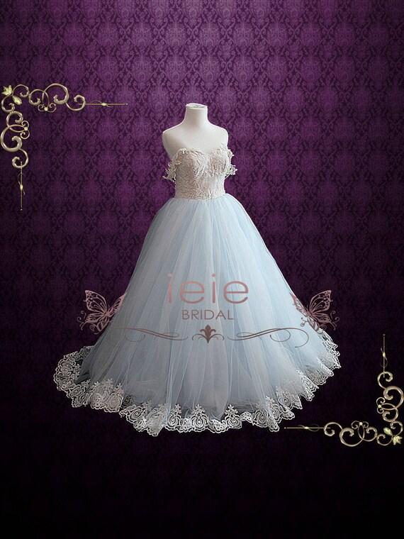 Light Blue Brautkleider mit Spitze Mieder Ballkleid