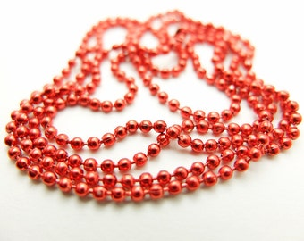 Red 70cm ball chain with clasp 2mm