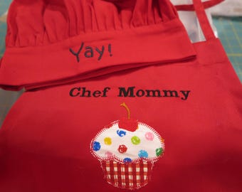 Chef Mommy and chef hat- embroidered-Ready to ship-Mother's Day