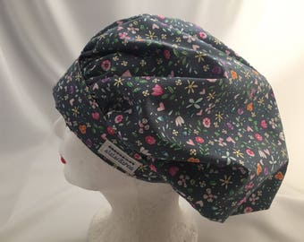 Scrub Hat Bouffant Style Blue Grey with Small Floral Print, Designer Michael Miller's Bitty Blooms