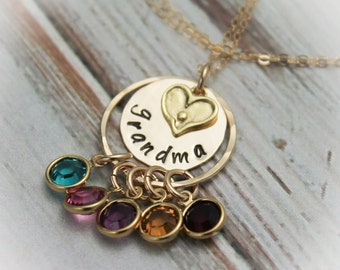 Grandmother Necklace with Birthstones Personalize with Grandchildren Hand Stamped Jewelry 14K Gold Filled