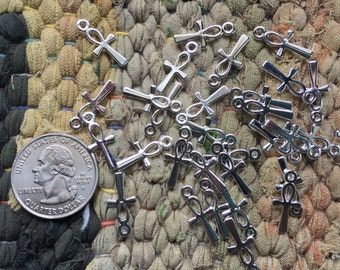 WHOLESALE One GROSS (144) Tiny 8.5mmx19mm Antique Silver ANKH Charms