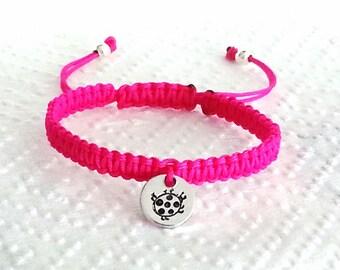 1 x Personalized Ladybug Ladybird Baby Shower Newborn Friendship Bracelet
