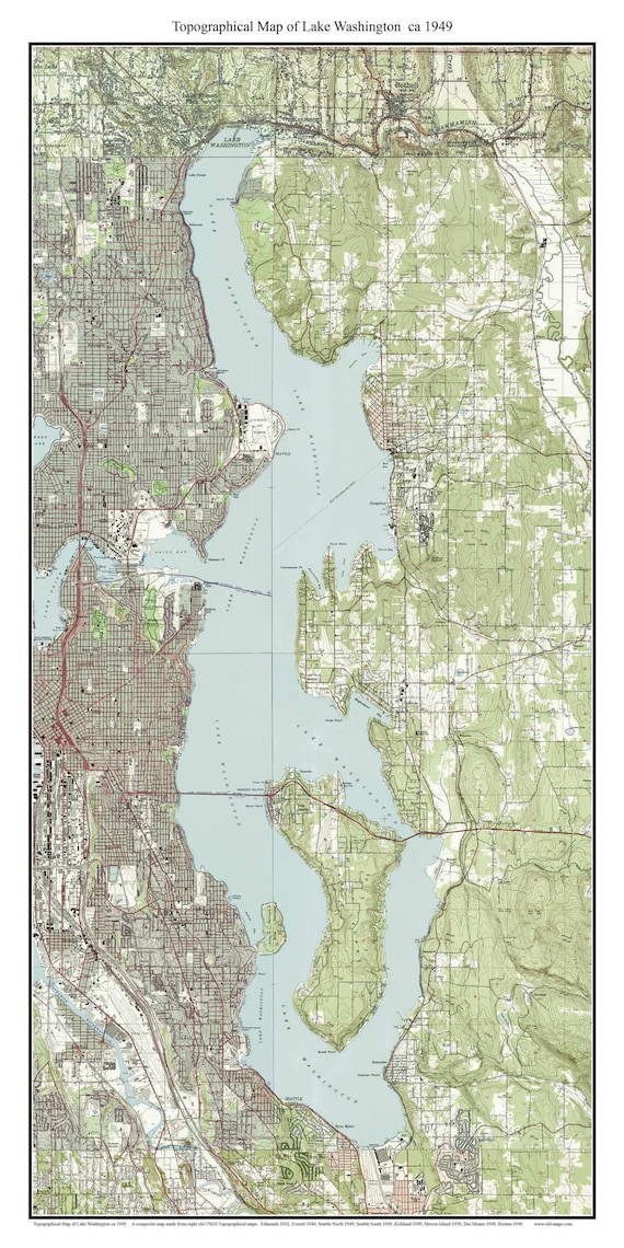 Lake Washington ca 1949 USGS Old Topographic Map Custom