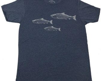 SALMON SPAWN - Men's T-shirt - Midnight Navy T - Salmon - Fishing - original drawing - fisherman gift - by uroko - limited