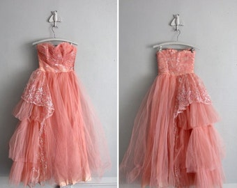 1950s vintage french rose sparkle tulle party dress