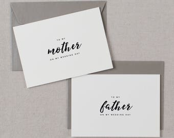 Wedding Card To My Mother + Father Wedding Day, To My Parents Wedding Card, To My Mom, To My Dad, Parents Wedding Thank You Card 2 Cards, K8