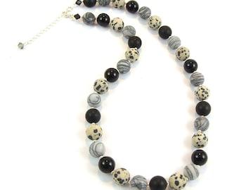 Jasper and Onyx Gemstone Necklace