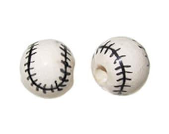 20pc 13mm Ceramic Baseball Sport Beads - Hand Painted DS18