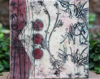 10 X 10 Oriental Foliage Original Encaustic Painting