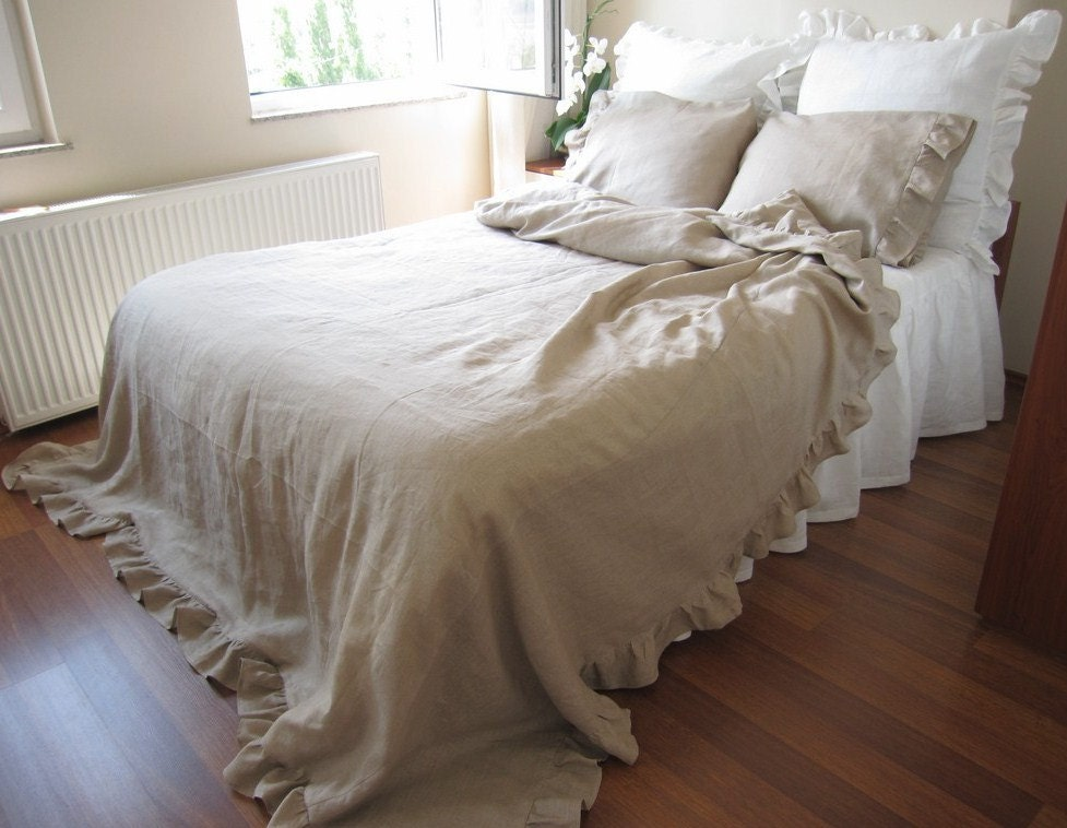 LINEN ruffle duvet cover Full Queen King size solid gray : linen quilt king - Adamdwight.com