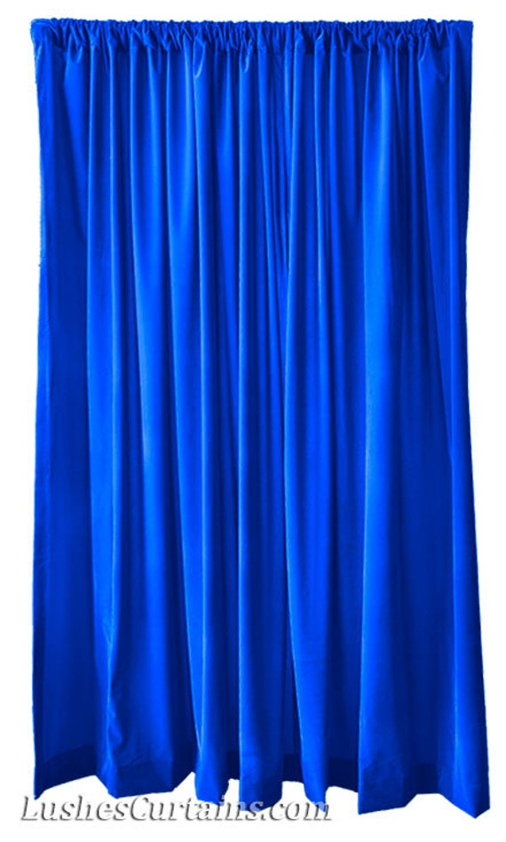 Royal Blue Bathroom Window Curtains: Royal Blue Flock Velvet 96 Inch Curtain Long Panels Custom