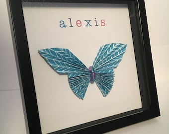Name Shadow Box (Butterfly) - Customizable